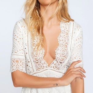 Eyelet Flare DRESS Plunge Ivory Party S M L XL NEW